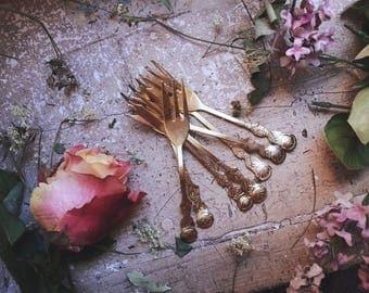 Set of 7 small dessert forks Golden style romantic retro vintage fairy French boudoir traditional shabby chic elegance