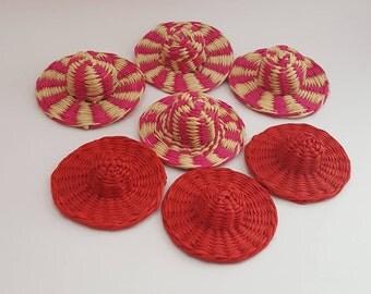 Seven Small Straw Hat Miniature Doll hats/ Miniature