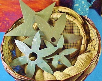 Antique Tin Quilt Stencils, Star, Flowers, Template, Embroidery