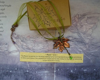 Shimmering Autumn Maple Leaf Ribbon Necklace ~ Love