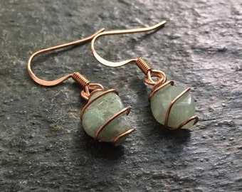 Aquamarine Crystal Copper Wire Wrapped Earrings