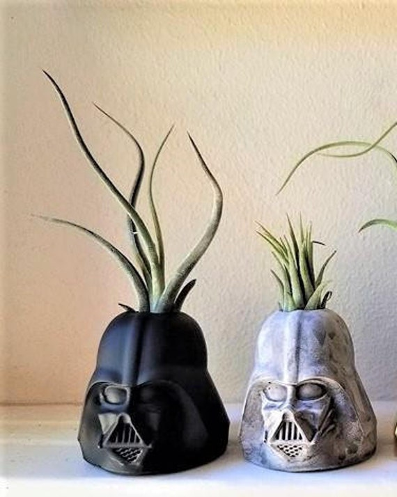 Darth Vader air plant holder, geek chic, gift for nerd, dark side, star wars planter