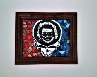 Grateful Dead Art Stealie With Jerry Garcia Framed Mosaic Picture, Unique Stained Glass, Mosaic Wall Hanging, Hippy Decor,Deadhead Gift Idea