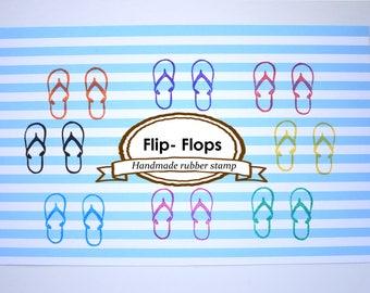 Rubber stamp flip-flops, Beach decoration stamp, Unique stationery, Summer wedding idea, Japanese stationery