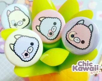 Chic Kawaii alpaca badges set, lot of 4 pieces, lovely llama kawaii