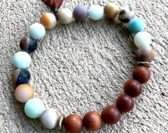 Amazonite Wrist Mala, Sandalwood Mala Bracelet, Tassel Bracelet, Healing Bracelet, Yoga Jewelry, Boho Jewelry, Mantra Bracelet, Prayer Beads