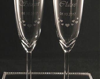 Wedding Glasses, Bride and Groom Champagne Flutes, Personalised Wedding Glasses, Wedding Gift