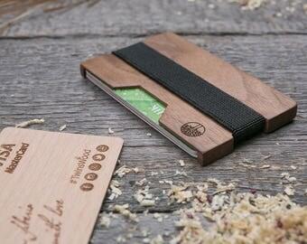 wood wallet walnut slim minimalist wallet card holder best for gift