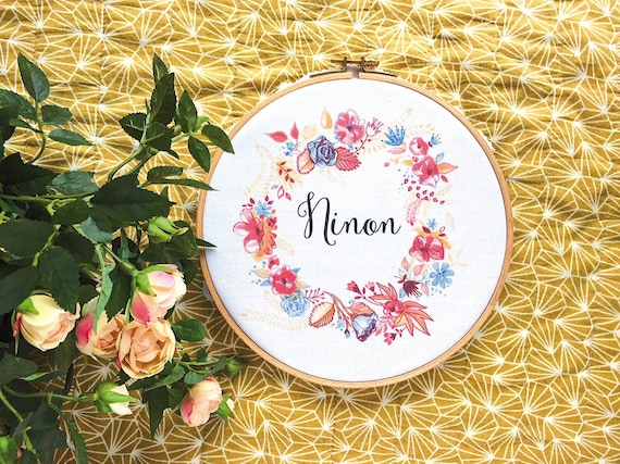 Framed Name, Ref Ninon, custom, Wooden frame, vintage frame, gift baby, bedroom setting, name of your choice, gift coworker, novelty.