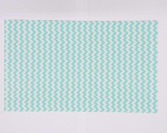 Mint green, ZigZag, Resin Rhinestones Hot fix, 24x40cm