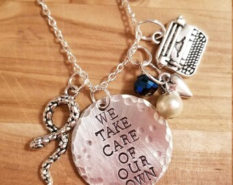 Riverdale- Falice hand stamped necklace/keychain/bracelet- FP Jones and Alice Cooper