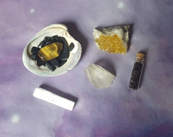 Reiki infused crystal seashell bundle with tigers eye, black tourmaline, garnet, selenite, quartz crystal point, hand mined quartz cluster