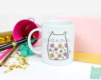 cat mug / cat lover gift / cat coffee mug / coffee mug / cat gift / funny cat mug / boho cat / cat cup / cute cat mug / cat lover / cat lady