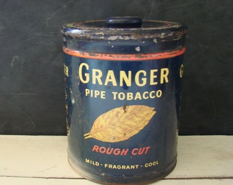 Vintage Granger Pipe Tobacco Tin with Lid Liggett & Myers Tobacco Co Metal Storage Container
