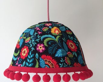 Vintage Retro Handmade 'Rosalie' Lampshade - Red Florals