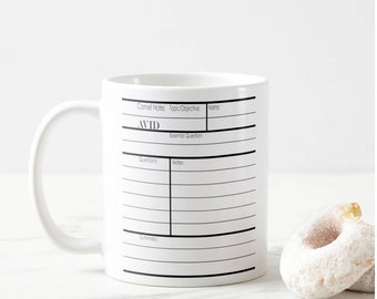AVID Cornell Notes Graphic© Mug. Our 11 ounce ceramic mug is a Fun and Unique Gift for Your Favorite Teacher and Student!