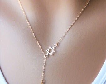 Gold Hamsa Necklace, Hamsa Lariat Necklace, Gold magen david necklace, Gold Necklace, Gold Star of David, Jewish jewelry
