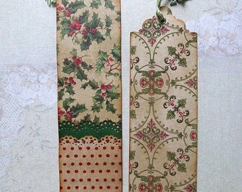 Two unique christmas scrapbook paper bookmarks with 2018 charm.