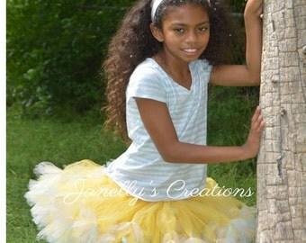 Petti tutu - petti skirt tutu - Easter tutu- girls tutu - newborn tutu - baby tutu - kids tutu - yellow pink and blue tutu