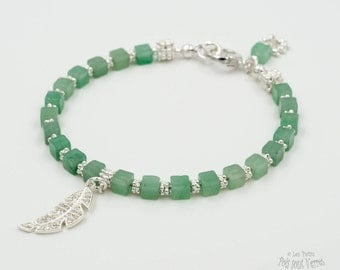 Feather bracelet made of 925 sterling silver beads and Aventurine