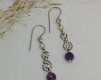 Sterling Silver Earrings with Amethyst Drop and Cultured Pearl Bead