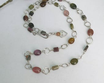 Hand forged Sterling Silver Necklace with Tourmaline Beads