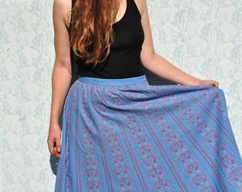 Midi skirt, midi skirt vintage, vintage midi skirt,  blue midi skirt, 70s midi skirt, blue skirt, blue floral skirt, boho midi skirt