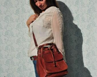 Leather crossbody bag, crossbody women, leather crossbody women, brown leather crossbody, vintage crossbody bag, drawstring bag