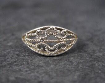 Vintage Sterling Filigree Ring Size 4