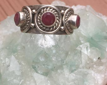 Natural Ruby Handmade Silver Ring US Size 7 1/4  (6mm Rubies)