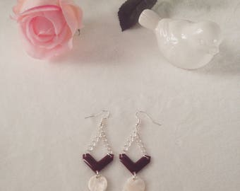 Burgundy and Pearlescent sequins and Silver earrings
