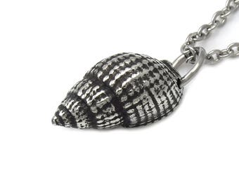 Small Sea Shell Necklace in Pewter, Seashell Jewelry, Ocean Pendant