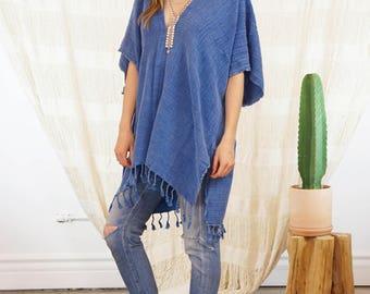 Indigo Boho Poncho | Nomad Kimono Indigo Boho Kimono Poncho Bohemian Dress Gypsy Kimono Summer Cover Up Beach Cover Up  Gift For Her KSN02