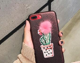 Fluffy Cute Kawaii Cactus iPhone 6 6S 7 8 Plus Phone Case