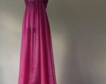 M / Vintage Lily of France Nightgown Lingerie / Sheer See Through Nylon with Lace and Open Sides / Medium / FREE USA Shipping
