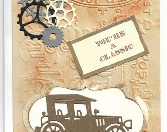 vintage model a your'e a clasisic gears steampunk handmade greeting card