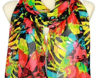 Floral Spring Scarf Flowers Women Birthday Gift for Her Fashion Accessories Autumn Floral Scarf Rainbow Scarves Gift for Women Christmas