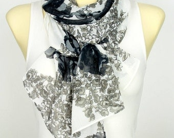Black and White Floral Scarf White with Floral Print Scarves for Woman Scarves Floral Spring Scarf Bridesmaid Gift Birthday Gifts for Mom