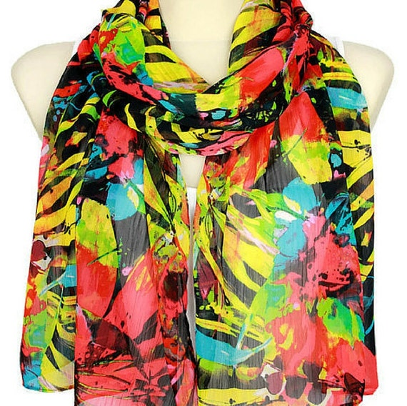 Floral Spring Scarf Summer Scarves Flowers Women Boho Scarf Birthday Gift for Her Fashion Accessories Autumn Floral Scarf Rainbow Scarves