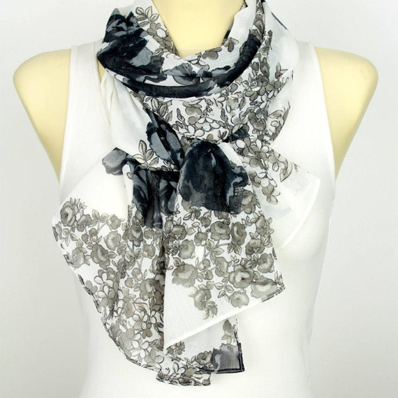 Black and White Floral Scarf Printed Fabric Scarf Boho Scarf Women Fashion Accessories Birthday Gift for Her Autumn Spring Celebrations