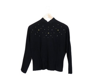 Vintage 40s/50s Stars and Rhinestones Black Wool Blouse Size S