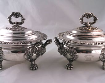 Pair of Regency old Sheffield Plate sauce tureens, Jehovah Jireh crest, early 19th century