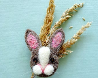 Rabbit Lover Gift | Bunny Brooch | Needle Felted Rabbit Brooch | Cute Bunny Rabbit Jewelry | Animal Jewelry Brooch Pin | Easter Bunny Gift