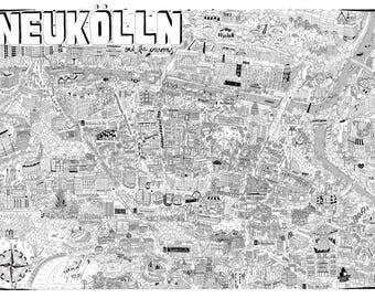 Neukölln Map, Neukölln, Berlin Map, Berlin City Map, Berlin Map Print, Berlin Print, Berlin Poster, Map Of Berlin, Printable Berlin Map Art