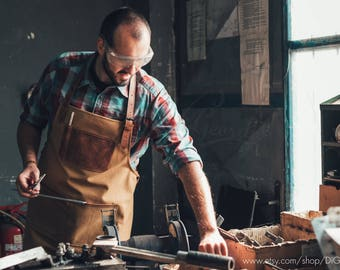 canvas apron men barista apron bartender leather apron barber leather work apron men artisan apron waxed apron protective apron full apron