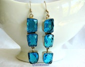 Earrings Dangle & Drop, Six London Blue Facet Quartz Gemstones, Sterling Silver Setting