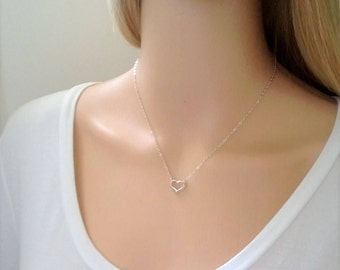 Sterling silver heart necklace; simple silver open heart necklace; tiny silver necklace; romantic sterling silver necklace