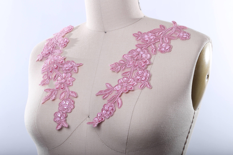 pink applique mauve lace applique beaded lace applique