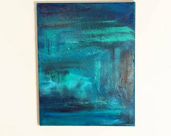 Abstract Painting Blue, Abstract Painting Mint, Original Abstract Painting, Abstract Canvas Painting