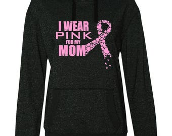 Cancer Ribbon Glitter Sweatshirt - I Wear Pink for My Mom Breast Cancer Awareness Hoodie Sweatshirt S M L XL XXL